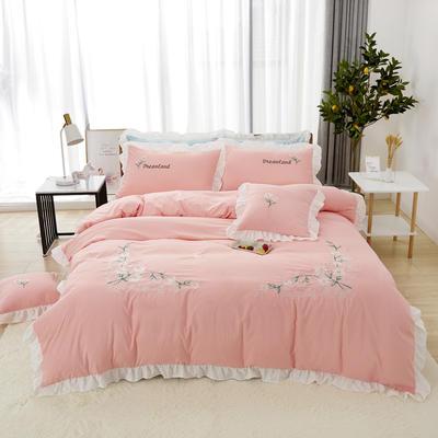 2019新款网红花边绣花水洗棉四件套 1.2m床床单款三件套 粉色