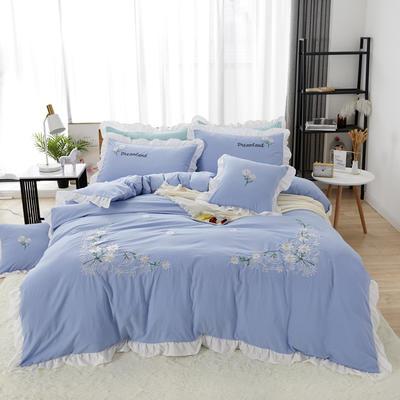 2019新款网红花边绣花水洗棉四件套 1.2m床床单款三件套 湖蓝
