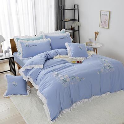 2019新款网红花边水洗棉四件套 1.2米床单款三件套 湖蓝