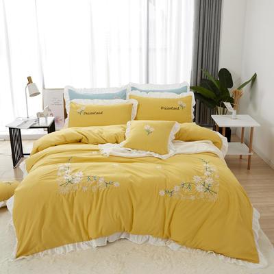 2019新款网红花边绣花水洗棉四件套 1.2m床床单款三件套 黄色