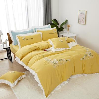 2019新款网红花边刺绣水洗棉四件套 1.8米床床单款四件套 黄色