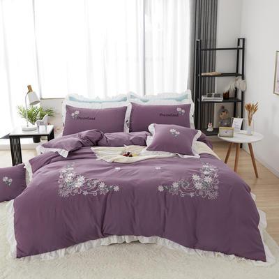 2019新款网红花边绣花水洗棉四件套 1.2m床床单款三件套 紫色