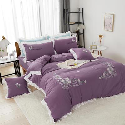 2019新款网红花边水洗棉四件套 1.2米床单款三件套 紫色