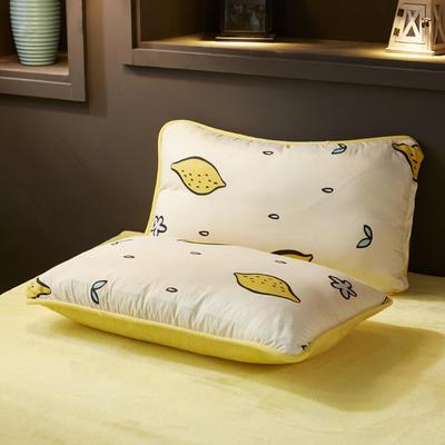 2019新款法莱绒单品枕套 48cmX74cm 一只 柠檬