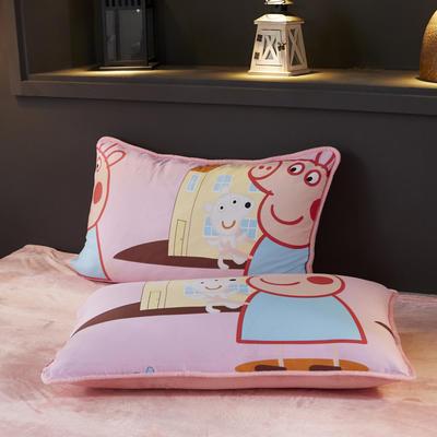 2019新款法莱绒单品枕套 48cmX74cm 一只 小猪佩奇