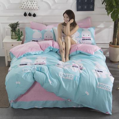 2019新款INS风A棉B水晶绒四件套 1.2m床单款三件套 兔宝贝