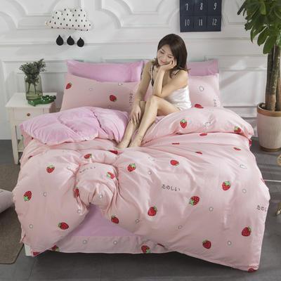 2019新款INS风A棉B水晶绒四件套 1.2m床单款三件套 小草莓