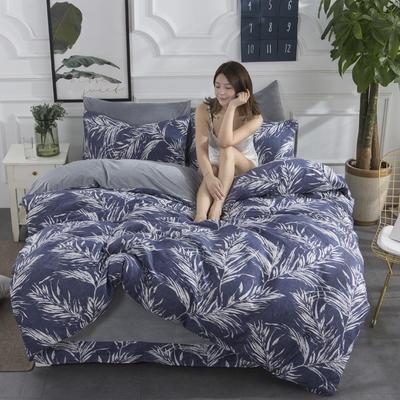 2019新款INS风A棉B水晶绒四件套 1.2m床单款三件套 叶影摇香