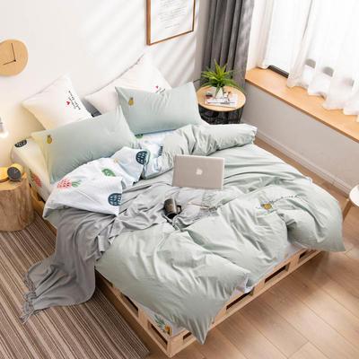2019新款网红全棉水洗棉刺绣四件套 1.5m床单款四件套 艾绿 菠萝