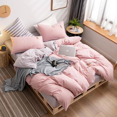 2019新款网红全棉水洗棉刺绣四件套 1.5m床单款四件套 粉色菠萝