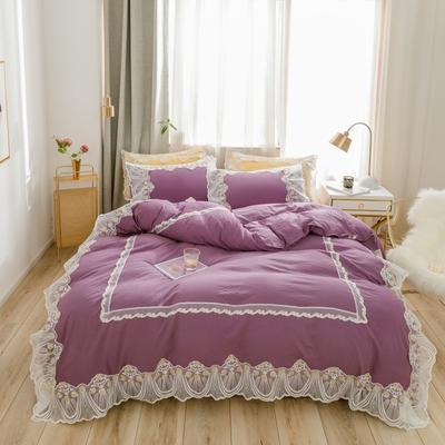 2020新款水洗棉蕾丝四件套 1.2m床单款三件套 初雪-紫