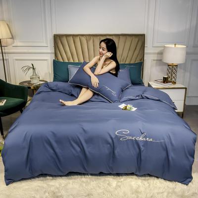 2020年新款凉感天丝纯色字母绣花款轻奢床上用品四件套 1.5m床单款四件套 宝石蓝