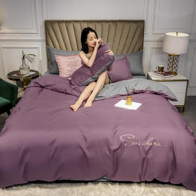 2020年新款凉感天丝纯色字母绣花款轻奢床上用品四件套 1.5m床单款四件套 帝王紫+钛金灰