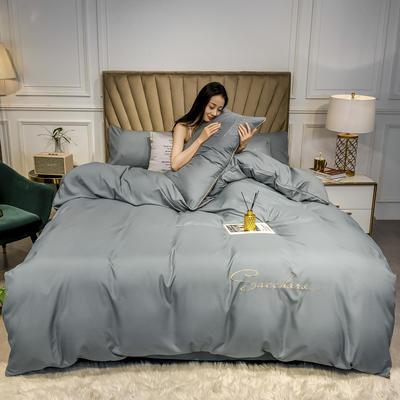 2020年新款凉感天丝纯色字母绣花款轻奢床上用品四件套 1.5m床单款四件套 钛金灰