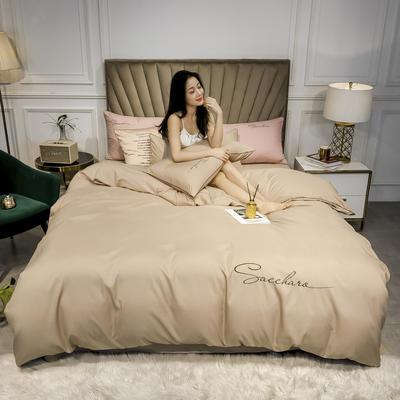 2020年新款凉感天丝纯色字母绣花款轻奢床上用品四件套 1.5m床单款四件套 香槟色