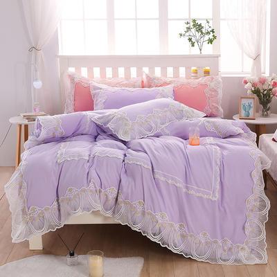 2020新款水洗棉蕾丝四件套 1.2m床单款三件套 初雪-水紫