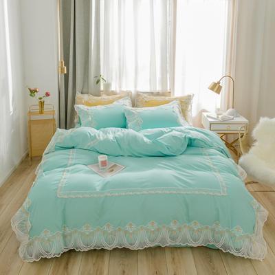 2020新款水洗棉蕾丝四件套床裙款 1.5m床裙款四件套 初雪-冰绿