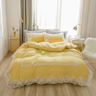 2020新款水洗棉蕾丝四件套床裙款 1.5m床裙款四件套 初雪-黄