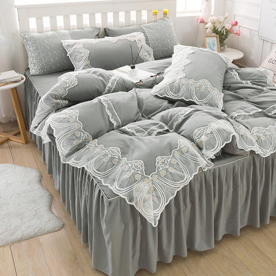 2020新款水洗棉蕾丝四件套床裙款 1.5m床裙款四件套 初雪-灰色