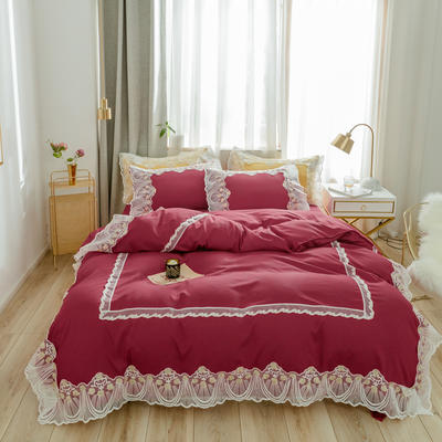 2020新款水洗棉蕾丝四件套床裙款 1.5m床裙款四件套 初雪-酒红