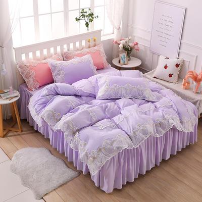2020新款水洗棉蕾丝四件套床裙款 1.5m床裙款四件套 初雪-水紫