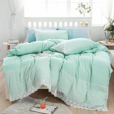 2020年新款公主风水洗棉四件套初夏系列床单款床笠款 1.5m床单款四件套 初夏-冰绿