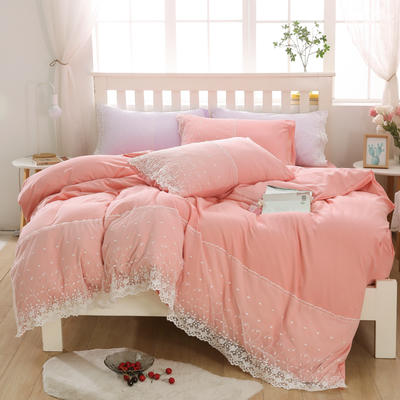 2020年新款公主风水洗棉四件套初夏系列床单款床笠款 1.5m床单款四件套 初夏-粉