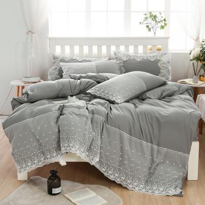 2020年新款公主风水洗棉四件套初夏系列床单款床笠款 1.5m床单款四件套 初夏-灰色