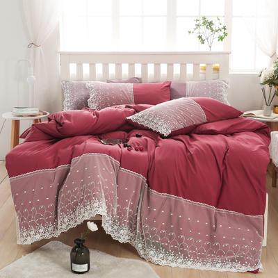 2020年新款公主风水洗棉四件套初夏系列床单款床笠款 1.5m床单款四件套 初夏-酒红