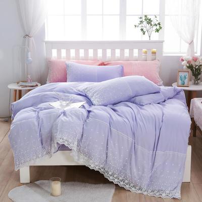 2020年新款公主风水洗棉四件套初夏系列床单款床笠款 1.5m床单款四件套 初夏-浅紫