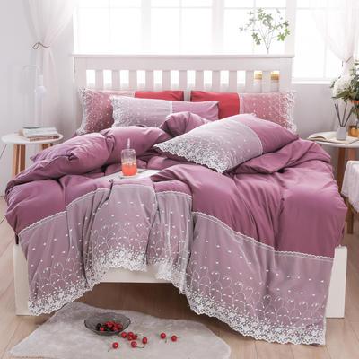 2020年新款公主风水洗棉四件套初夏系列床单款床笠款 1.5m床单款四件套 初夏-紫