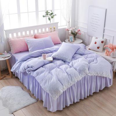 2020年新款公主风水洗棉四件套初夏系列床裙款 1.8m床裙款四件套 初夏-浅紫