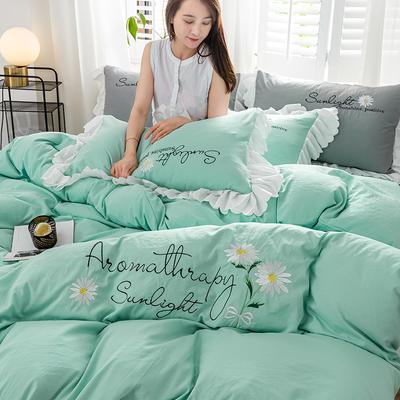 2020年网红少女心水洗棉刺绣花边四件套床单款床笠款 1.2m床单款三件套 初见-冰绿