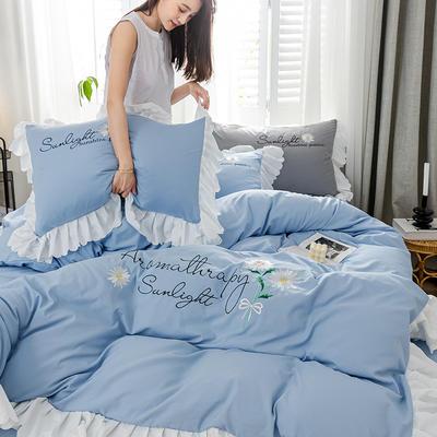 2020年网红少女心水洗棉刺绣花边四件套床单款床笠款 1.2m床单款三件套 初见-湖蓝