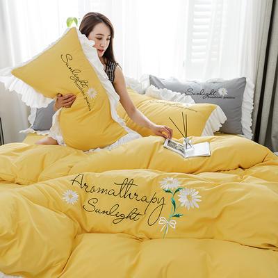 2020年网红少女心水洗棉刺绣花边四件套床单款床笠款 1.2m床单款三件套 初见-黄