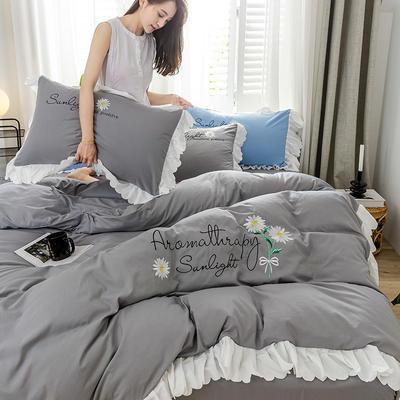 2020年网红少女心水洗棉刺绣花边四件套床单款床笠款 1.2m床单款三件套 初见-灰