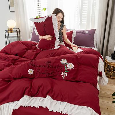 2020年网红少女心水洗棉刺绣花边四件套床单款床笠款 1.2m床单款三件套 初见-酒红