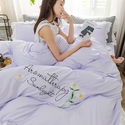 2020年网红少女心水洗棉刺绣花边四件套床单款床笠款 1.2m床单款三件套 初见-浅紫