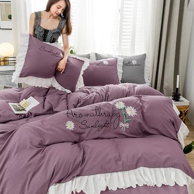 2020年网红少女心水洗棉刺绣花边四件套床单款床笠款 1.2m床单款三件套 初见-紫