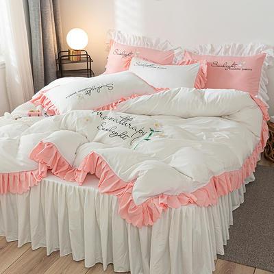 2020年网红少女心水洗棉刺绣花边四件套床裙款 1.5m床裙款四件套 初见-白