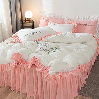 2020年网红少女心水洗棉刺绣花边四件套床裙款 1.5m床裙款四件套 初见-白+粉