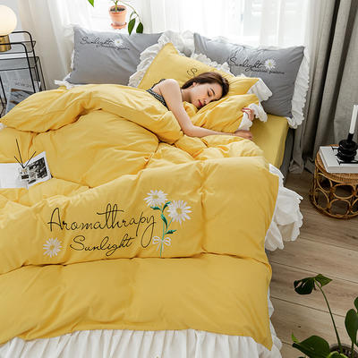 2020年网红少女心水洗棉刺绣花边四件套床裙款 1.5m床裙款四件套 初见-黄