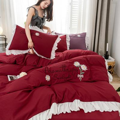 2020年网红少女心水洗棉刺绣花边四件套床裙款 1.5m床裙款四件套 初见-酒红