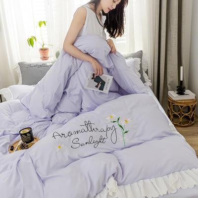 2020年网红少女心水洗棉刺绣花边四件套床裙款 1.5m床裙款四件套 初见-浅紫