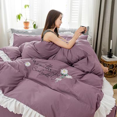 2020年网红少女心水洗棉刺绣花边四件套床裙款 1.5m床裙款四件套 初见-紫