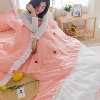 2020新款拼色花边水洗棉初恋系列四件套 1.5m床单款四件套 初恋-粉色