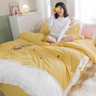2020新款拼色花边水洗棉初恋系列四件套 1.5m床单款四件套 初恋-黄色