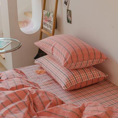 2021款无印风格良品四件套格子AB板色织水洗棉系列—单枕套/抱枕套 枕套48cmX74cm/对 粉灰格A