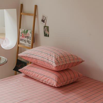 2021款无印风格良品四件套格子AB板色织水洗棉系列—单枕套/抱枕套 枕套48cmX74cm/对 粉灰格B
