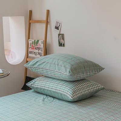 2021款无印风格良品四件套格子AB板色织水洗棉系列—单枕套/抱枕套 枕套48cmX74cm/对 海蓝格A